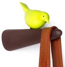 Qualy Picky vogel haak kapstok bruin/groen
