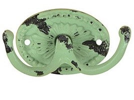 Vintage dubbele kapstok haak oud groen