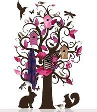 Muursticker kapstok villa vogelboom roze