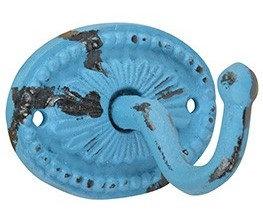 Vintage kapstok haak ovaal blauw