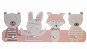 Wilde dieren kinderkapstok hout met 4 haken roze/wit