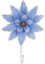 Kapstokhaak grote bloem grijsblauw