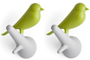 Qualy kapstokhaakjes 2x vogel op tak wit/groen