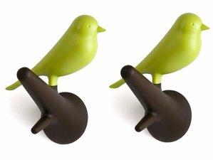 Qualy kapstokhaakjes 2x vogel op tak bruin/groen