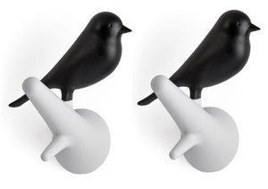Qualy kapstok haakjes vogel wit/zwart