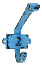 Vintage kapstok haak nummer 2 blauw