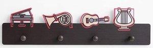 Kapstok muziek instrumenten met 4 haken
