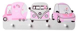 Kinderkapstok dieren in auto's roze met 4 haken