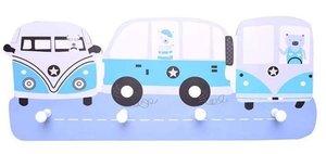 Kinderkapstok dieren in auto's blauw met 4 haken