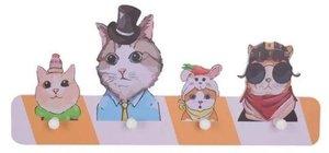 Katten kapstok met hoofddeksels (4 haken)