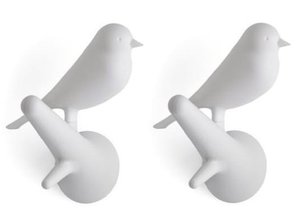 Qualy kapstokhaakjes 2x vogel op tak wit/wit