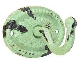 Vintage kapstok haak ovaal Oud groen