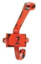 Vintage kapstok haak nummer 2 rood