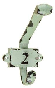 Vintage kapstok haak nummer 2 groen