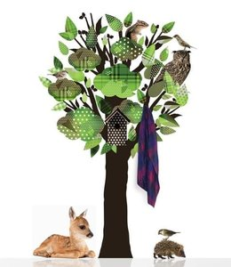 kledingboom muursticker boom en hert